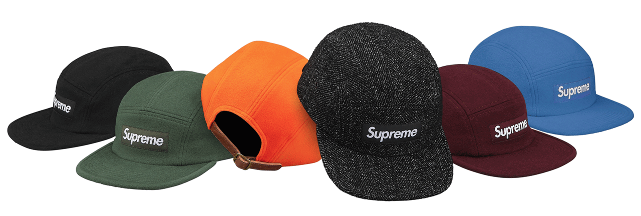 SUPREME Leather Camp Cap Black Navy Gun Metal Red box logo tnf cdg F//W 16