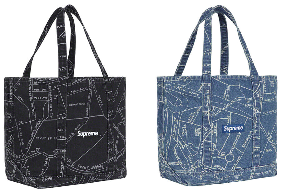 Supreme 2019SS Gonz Map Denim Tote