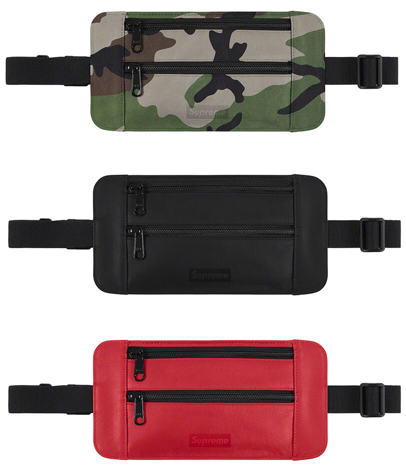 Supreme 2019SS Leather Waist/Shoulder Pouch woodland black red