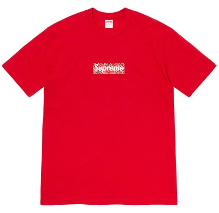 Supreme 2019FW Week17 Winter Tee バンダナ ボックスロゴのTシャツ レッド