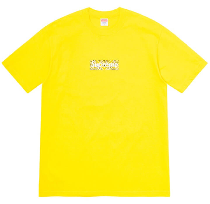 Supreme 2019FW Week17 Winter Tee バンダナ ボックスロゴのTシャツ イエロー